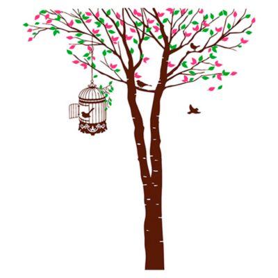 Vinilo Árbol y jaula Fucsia, verde claro, marrón 105x120cm