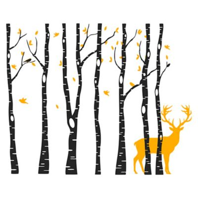 Vinilo Árboles y ciervo Naranja , negro 172x140cm