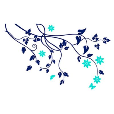 Vinilo Árbol de almendro Menta, azul oscuro 140x87cm