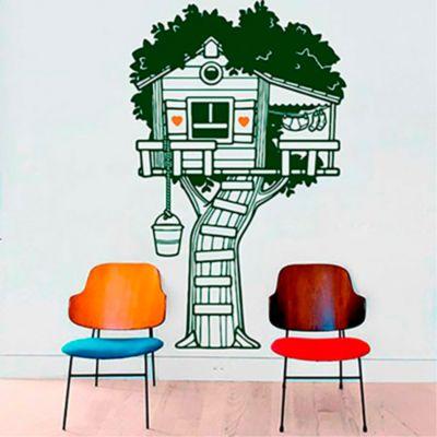 Vinilo Casita en el árbol Verde oscuro, naranja 100x160cm