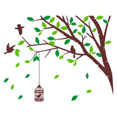 Vinilo Árbol en Primavera Marrón, verde claro, verde oscuro 100x79cm