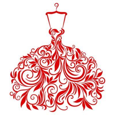 Vinilo Vestido de Hojas Rojo Medida M