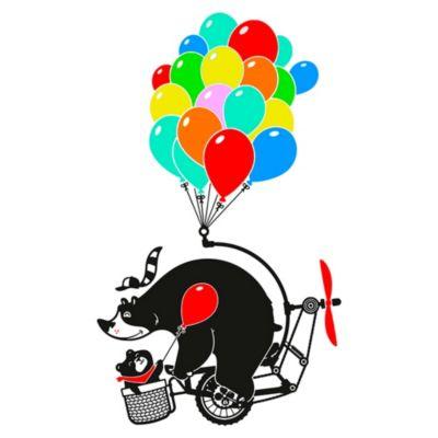Vinilo Osos En Bicicleta Negro Medida P
