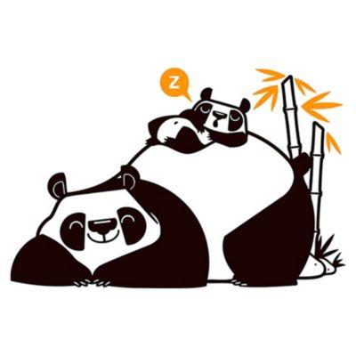 Vinilo Pandas Durmiendo Negro, Naranja Medida M