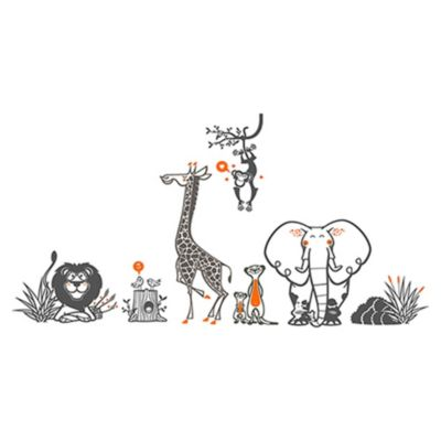 Vinilo Grupo Zoológico Gris Oscuro, Naranja Medida G