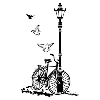 Vinilo Bcicleta Y Farol Negro Medida M