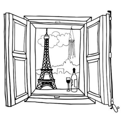 Vinilo Ventana París Negro Medida P