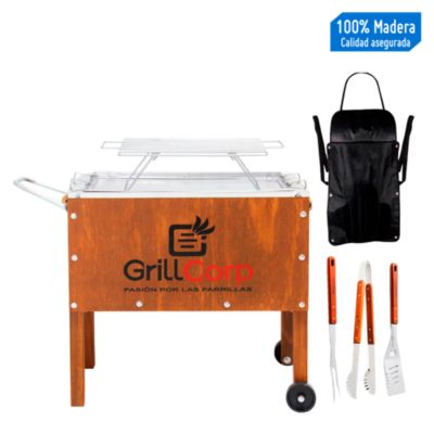 Caja China Mediana Junior Clásica + Parrilla Varillas + Set de Utensilios