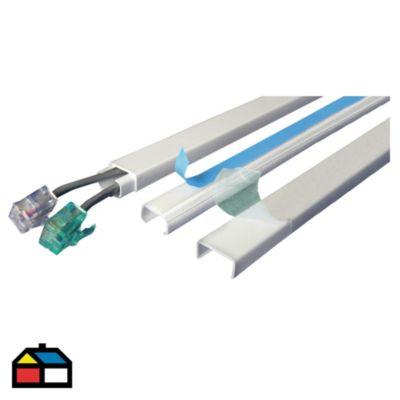 Canaleta 13 x 7 mm PVC Con Adhesivo Blanco