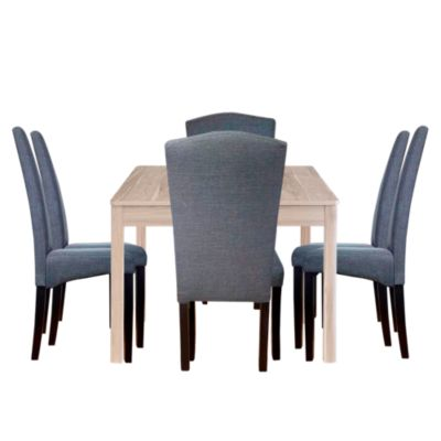 Combo Mesa Comedor Dakota 160x77x90cm Homy + 6 Sillas Comedor Roma Pata Negra Home Collection
