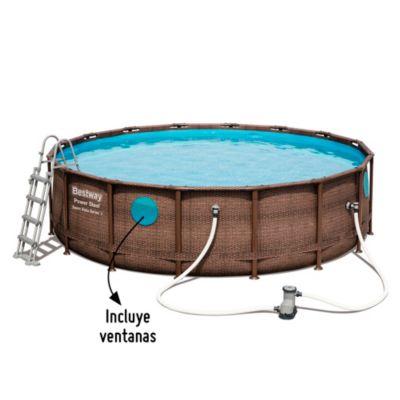 Piscina estructural redonda 4.88 x 4.88 x 1.22m Ratan con Ventana + Cubrepiso + Cobertor + Bomba de Filtrado + Escalera + Dispensador de Quimicos