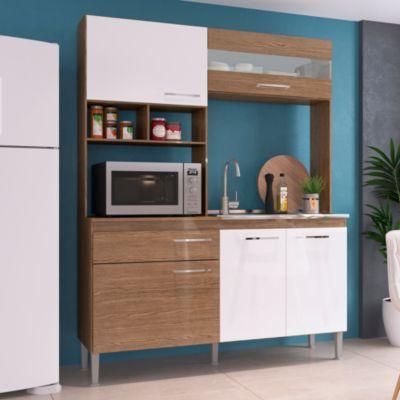 Cocina Modular Évora 150x51x195cm Ébano/Blanco