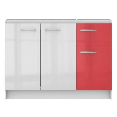 Kit Mueble Base 120cm Blanco/Rojo
