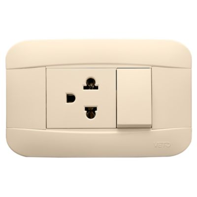 Interruptor Simple + Tomacorriente Universal 2P+E Marfil