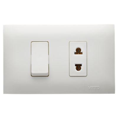 Interruptor y Tomacorriente Universal 2P