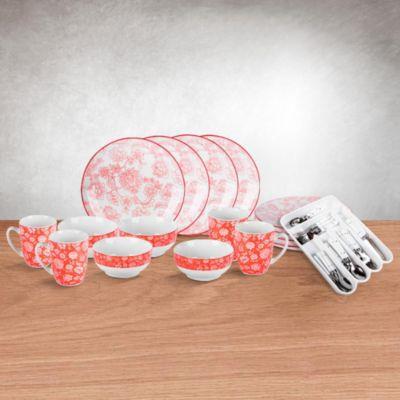 Combo Set de Vajilla Flor 16 Piezas + Set cubiertos 58 piezas blanco