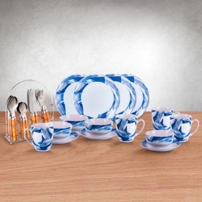 Combo Set Vajilla Bluecrush 16 Piezas + Juego de cubiertos 16 piezas