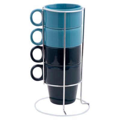 Set Tazas con Rack Azul 4 Unidades
