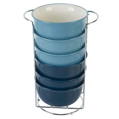 Set Bowls con Rack Azul 6 Unidades