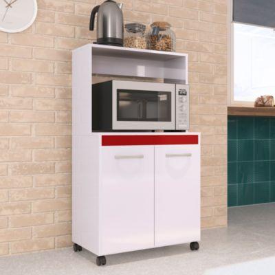 Mueble para Microondas 61.5cm Blanco/Rojo