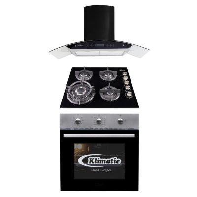 Tricombo Cocina Empotrable Gia X + Horno a Gas Lubeck-BC + Campana Extractora Venezia Black