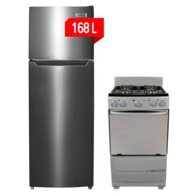 Combo Refrigerador De Frost 168L Inox Libero + Cocina a gas 4 quemadores Kansas Recco