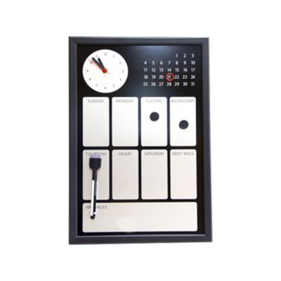 Pizarra Magnética Reloj/Calendario Mar Negro 45x30cm