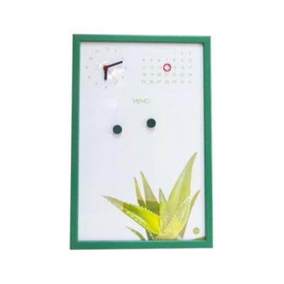 Pizarra Magnética Reloj/Calendario Verde 45x30cm