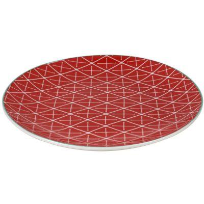 Plato Redondo Geométrico Naranja 19cm