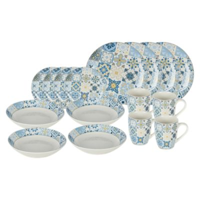 Set de Vajilla Mosaico Azul 16 Piezas