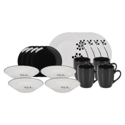 Set de Vajilla 16 Piezas Blanco y Negro