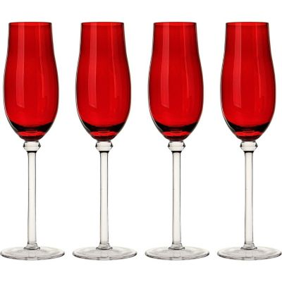 Set de 4 Copas para Champagne Flauta Roja