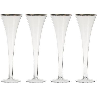 Set 4 Copas para Champagne Ribete Gold