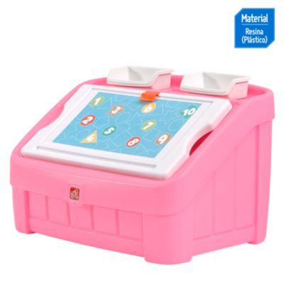 Caja de juguete y arte rosado