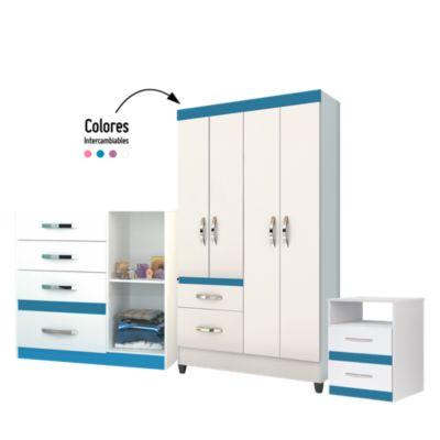 Combo Ropero Infantil 4 Puertas y 2 Cajones + Cómoda Infantil 4 Cajones + Velador Infantil 2 Cajones