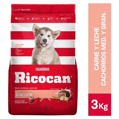 Carne y Leche Cachorros Razas Medianas y Grandes 3kg