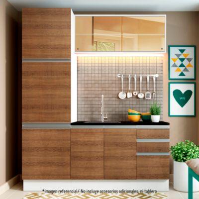 Mueble de cocina Modular Glamy 180 cm con vidrio reflex