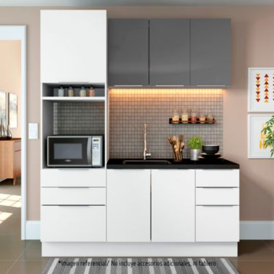 Mueble de cocina Modular Stella 180 cm Gris