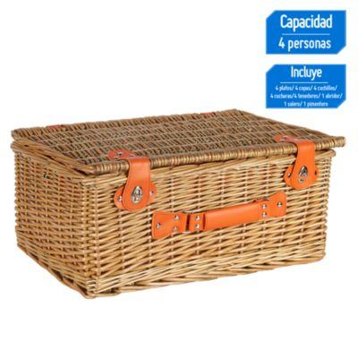 Canasto picnic 4 personas Naranja y 23 piezas
