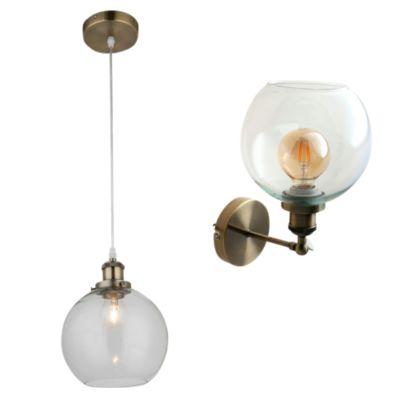 Combo Lámpara colgante Asti 1 luz E27 bronce + Aplique Asti 1 luz E27 bronce