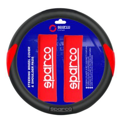 Set Cubre Volante + Cubre Cinturón Negro con Rojo