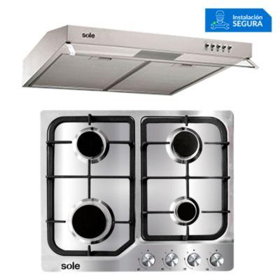 Cocina Empotrable SOLCO035 + Campana Extractora TURE15CO