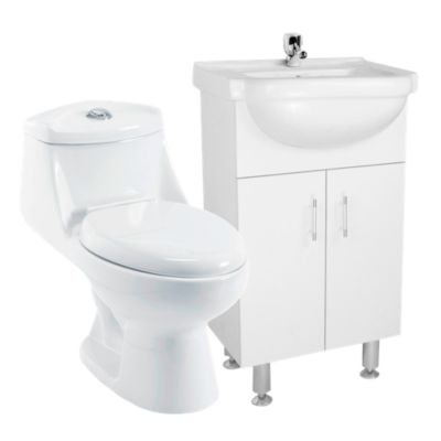 Combo One Piece Vinciny Blanco D'acqua + Mueble Vanitorio Blanco 50x83x45cm