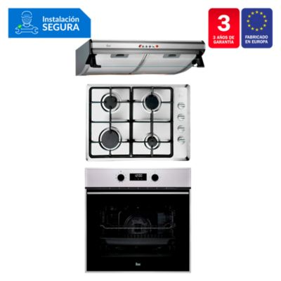 Tricombo Campana Tradicional C 6310 C/F + Cocina Empotrable HLX 50 4G AI CI + Horno Eléctrico HBB 635