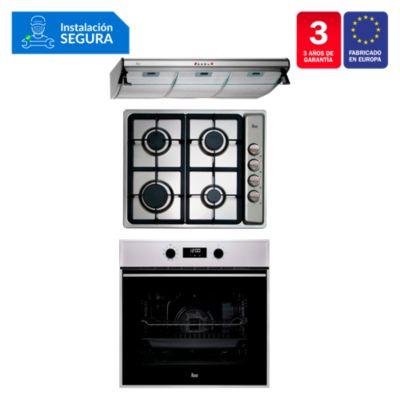 Tricombo Campana Tradicional C 9310 C/F + Cocina Empotrable EP 60 4G AI CI + Horno Eléctrico HSB 635
