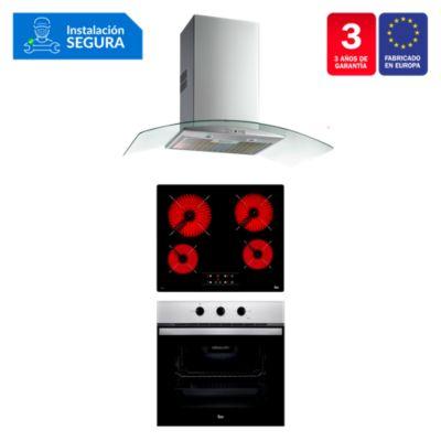 Tricombo Cocina Empotrable TB 6415 + Campana Decorativa NC 980 C/F + Horno Eléctrico HBB 535