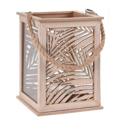 Portavelas de Fibra con Detalle Hoja 26cm