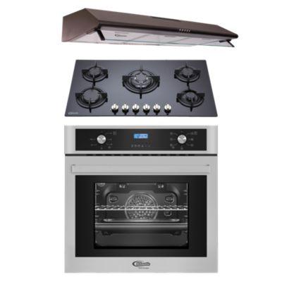 Tricombo Campana Decorativa CK 901 NE + Cocina Empotrable Gina + Horno Eléctrico Gamma B
