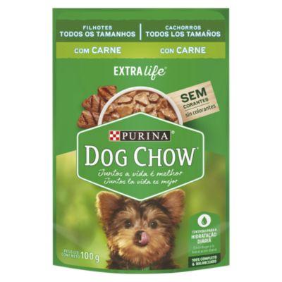 Dog Chow Cachorro Trozos Jugosos de Carne y Leche Sobre 100gr