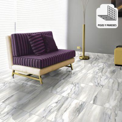 Gres Porcelanico Vital Blanco Marmolizado 60x60cm para piso o pared